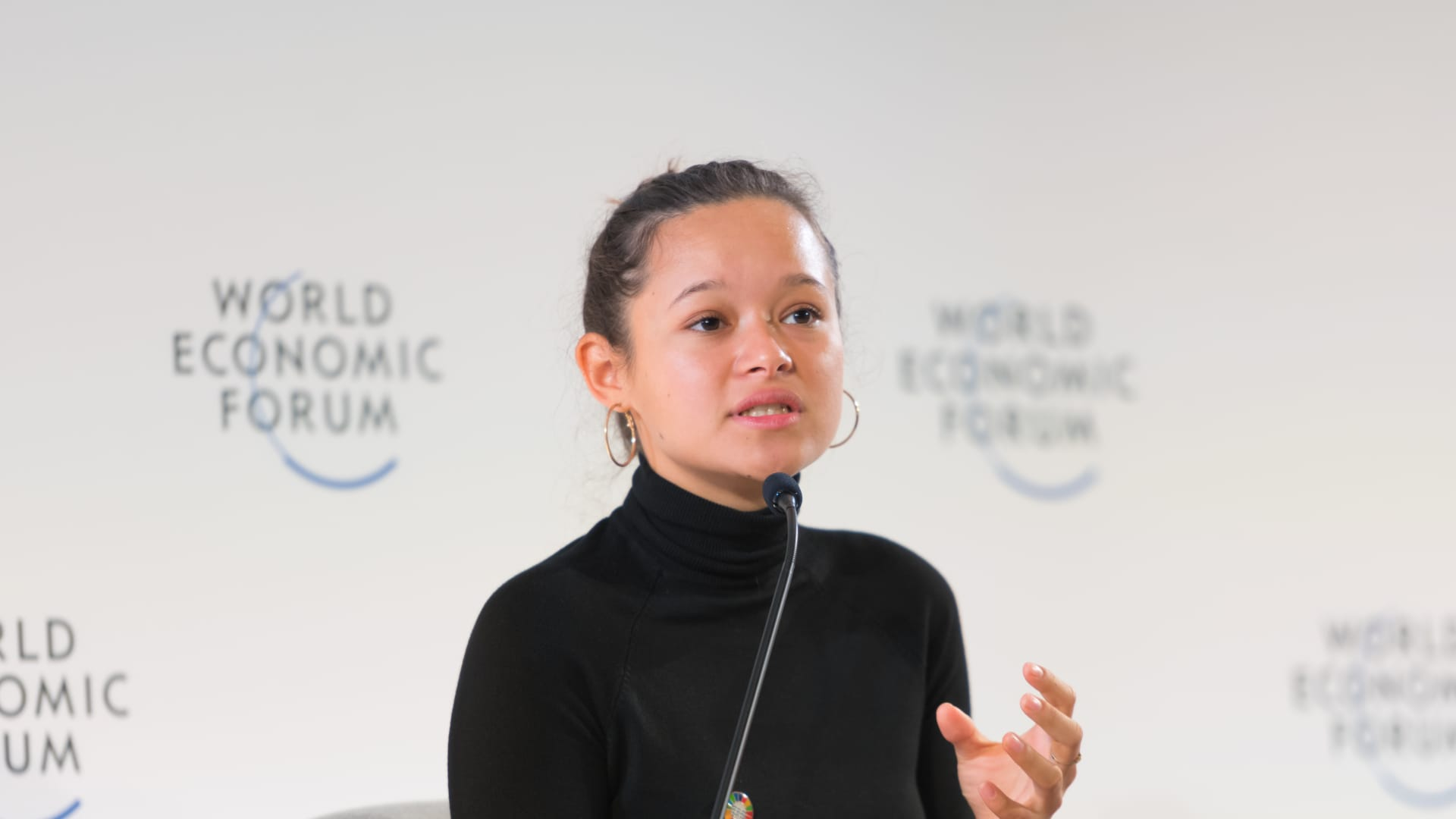 Melati Wijsen, co-founder of Bye Bye Plastic Bags, speaks at the World Economic Forum.