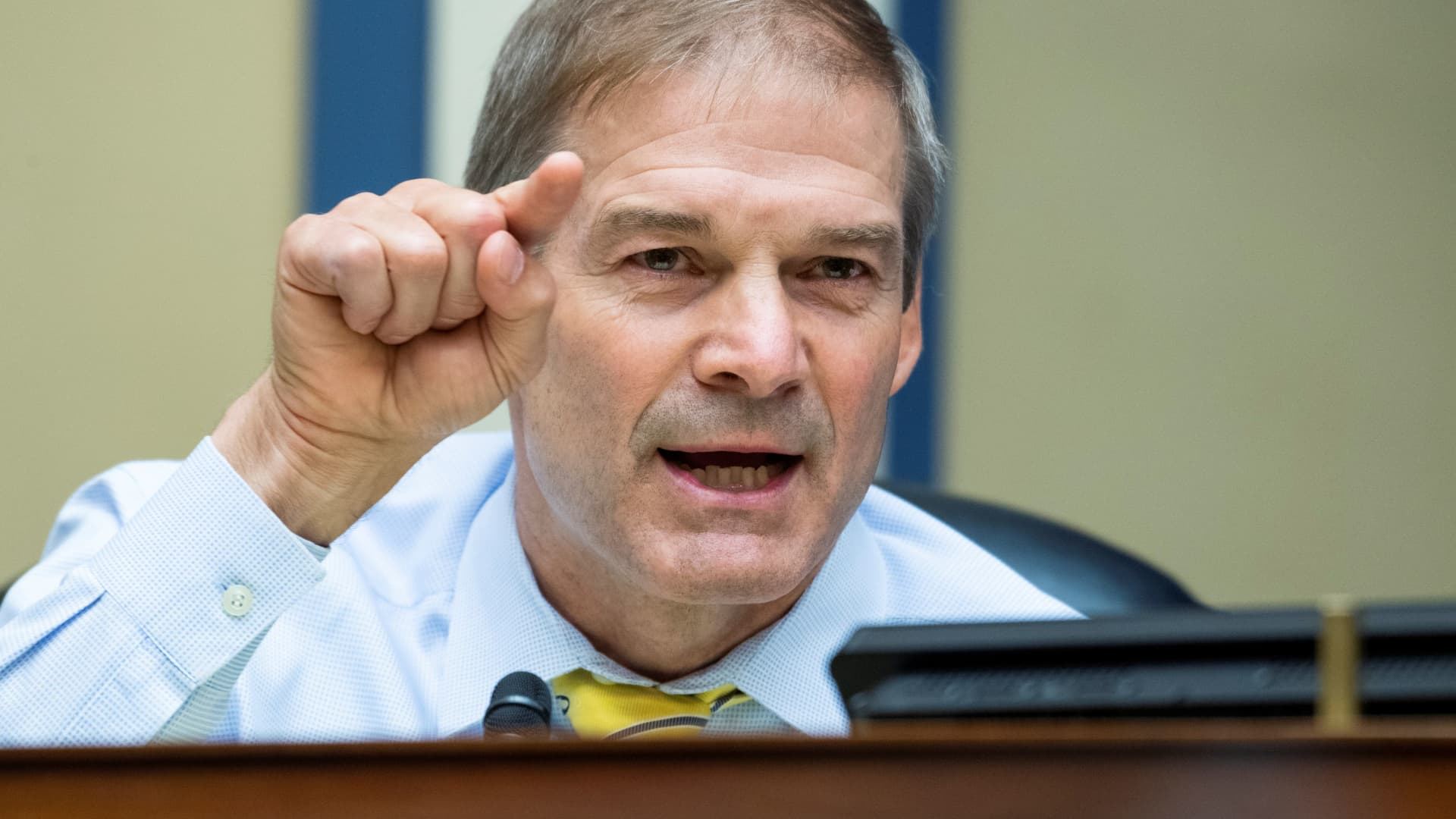Rep. Jim Jordan questions Postmaster General Louis DeJoy during the House Oversight and Reform Committee hearing in Washington, August 24, 2020.