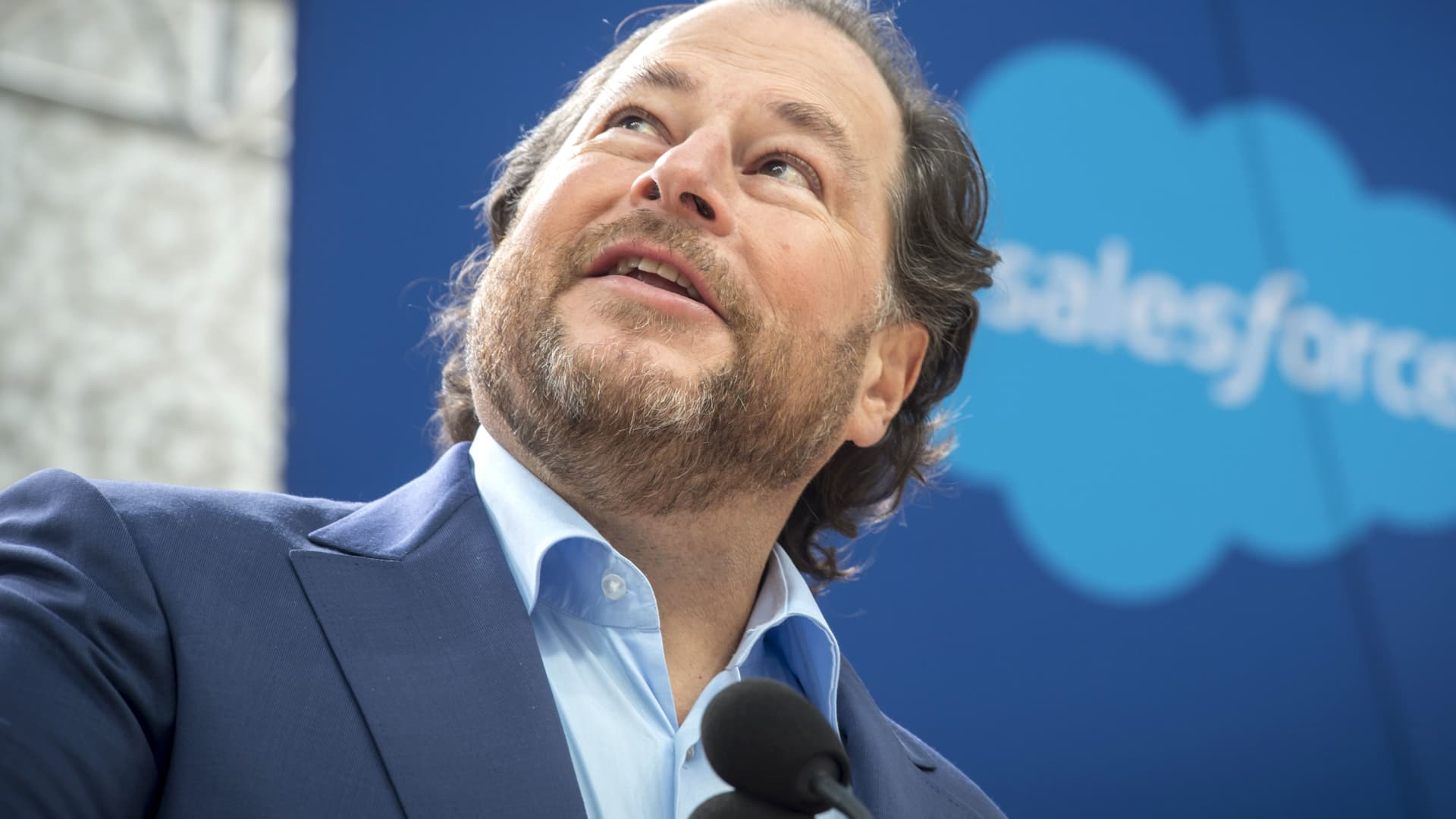 Marc Benioff, chairman and chief executive officer of Salesforce.com speaks during the grand opening ceremonies for the Salesforce Tower in San Francisco on May 22, 2018.