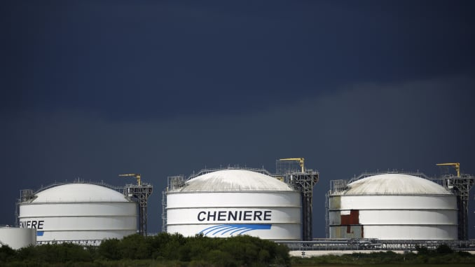 Storage tanks stand the Sabine Pass LNG Export Terminal ahead of Hurricane Laura in Sabine Pass, Texas, U.S., on Tuesday, Aug. 25, 2020.