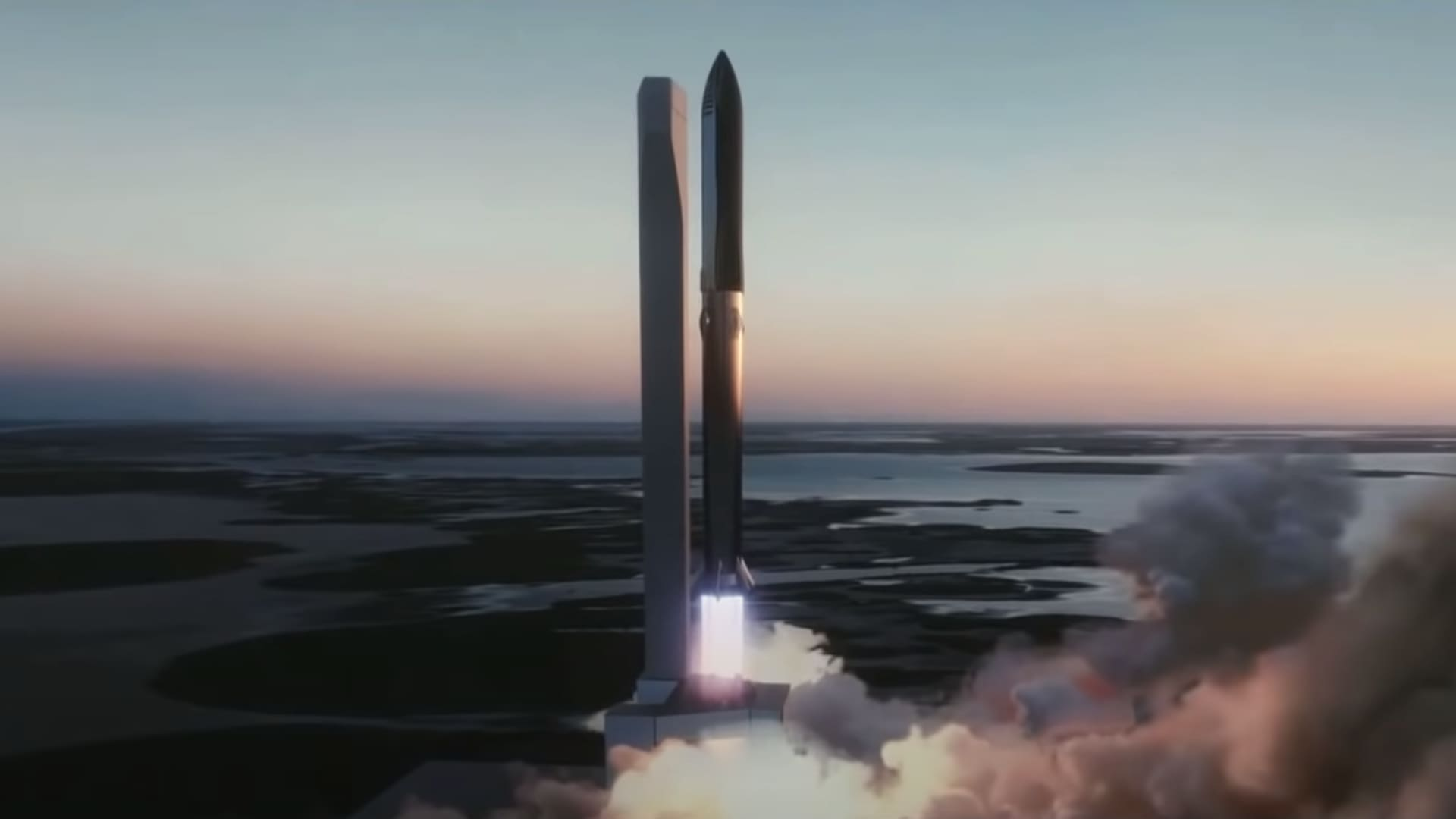 An artist's rendering shows SpaceX's Starship rocket launching on top of its Super Heavy booster.