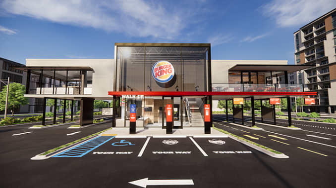 A rendering of Burger King's Next Level restaurant design