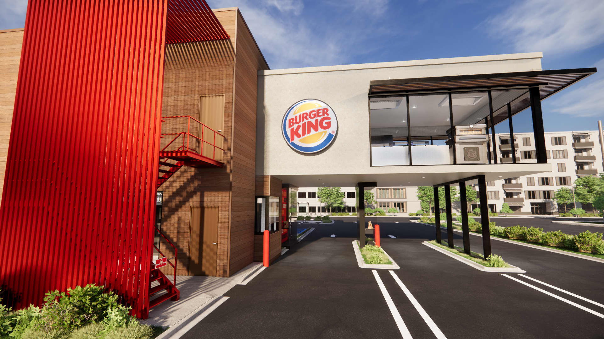 Burger King Next Level's suspended kitchen above the drive-thru lanes