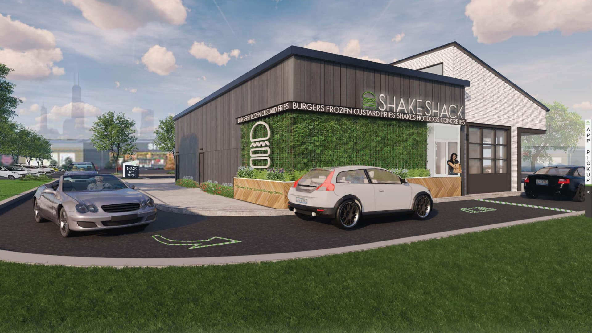 A rendering of Shake Shack's drive-up window