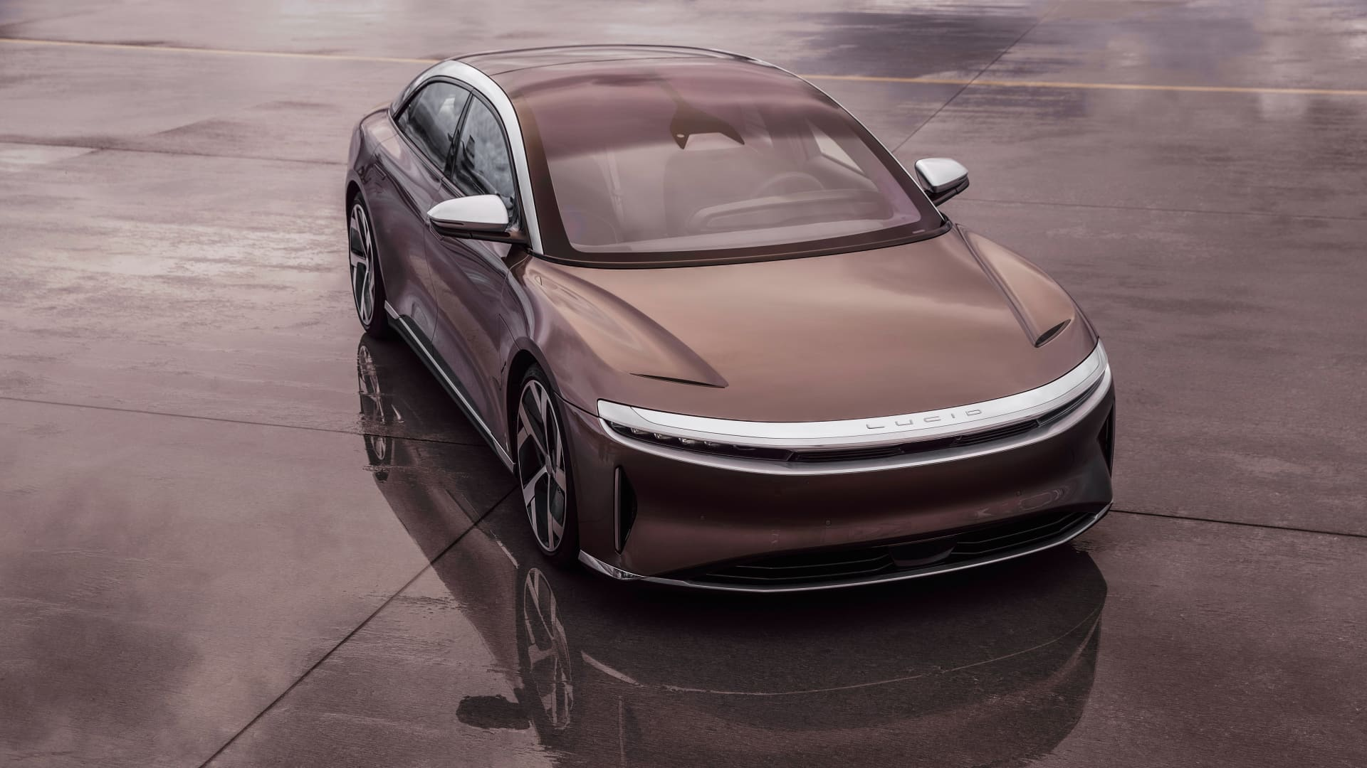 Exterior of the Lucid Air sedan, which debuted Sept. 9, 2020 as the company's first production vehicle.