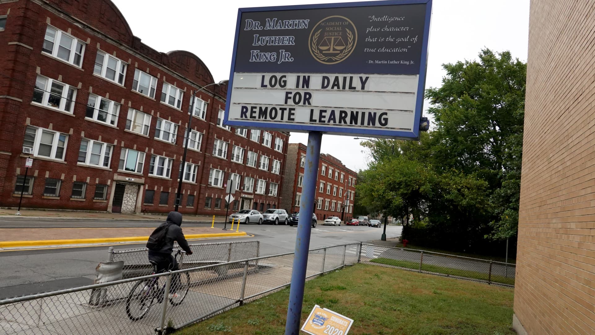A sign in front of King Elementary School encourages students to participate in remote learning on September 08, 2020 in Chicago, Illinois.