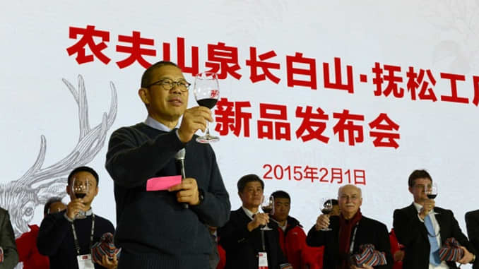 Zhong Shanshan, the chairman of Nongfu Spring Company, attends the Nongfu Spring new product launch conference on February 1, 2015 in Baishan, Jilin Province of China.