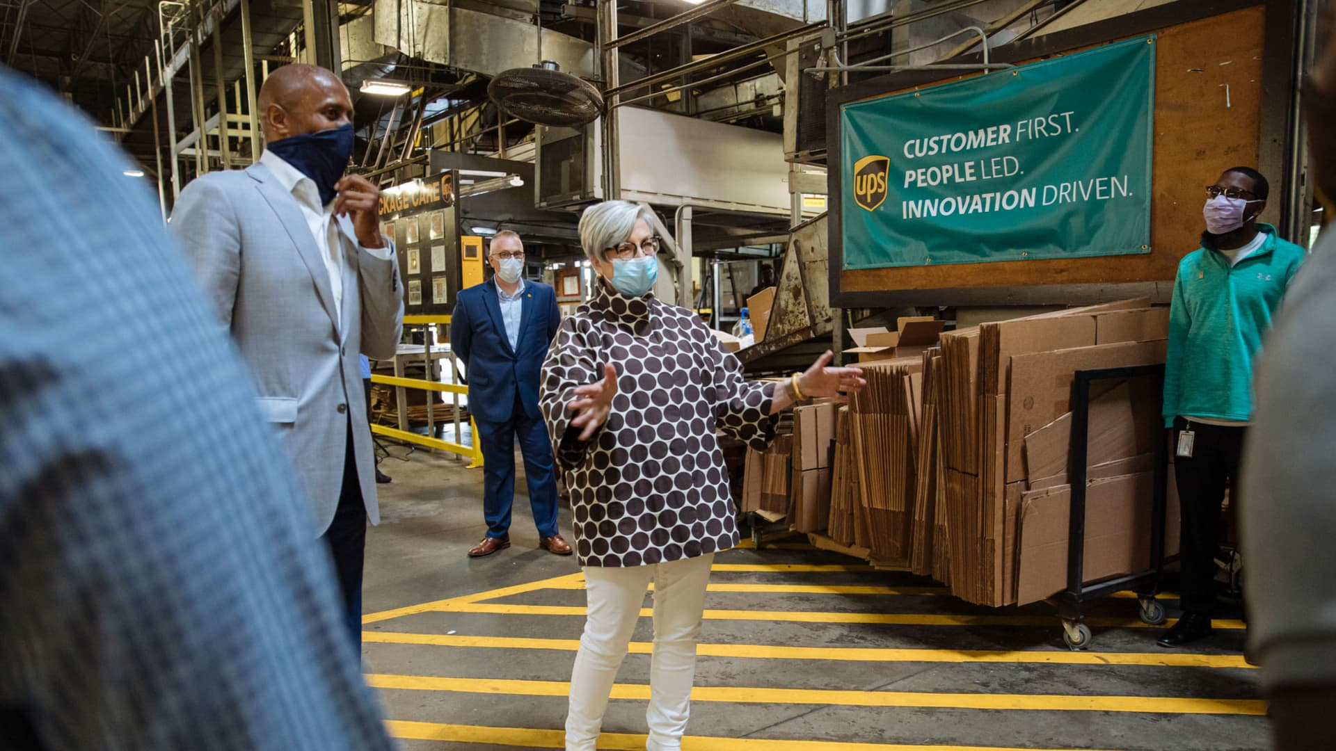UPS CEO Carol Tome meets with workers