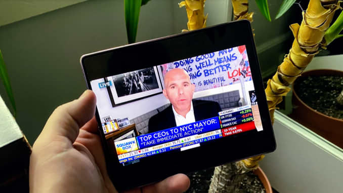Watching CNBC on the big inside screen.