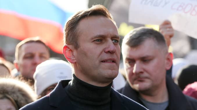 Alexey Navalny, Russian opposition leader, walks with demonstrators during a rally in Moscow, Russia, on Saturday, Feb. 29, 2019. The rally marked five years since the assassination of politician Boris Nemtsov.
