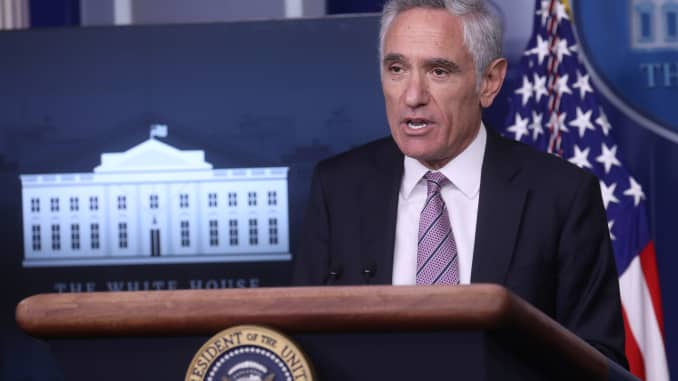 Dr. Scott Atlas speaks to reporters during a news conference held by U.S. President Donald Trump in the Brady Press Briefing Room at the White House in Washington, September 16, 2020.
