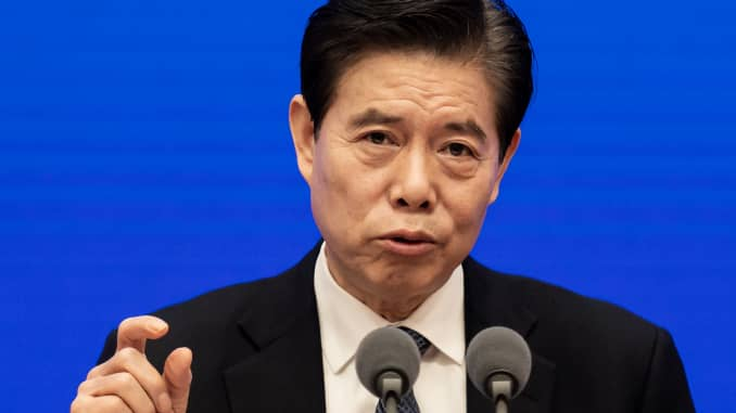 China's Minister of Commerce Zhong Shan speaks during a press conference at State Council Information Office in Beijing on May 18, 2020.