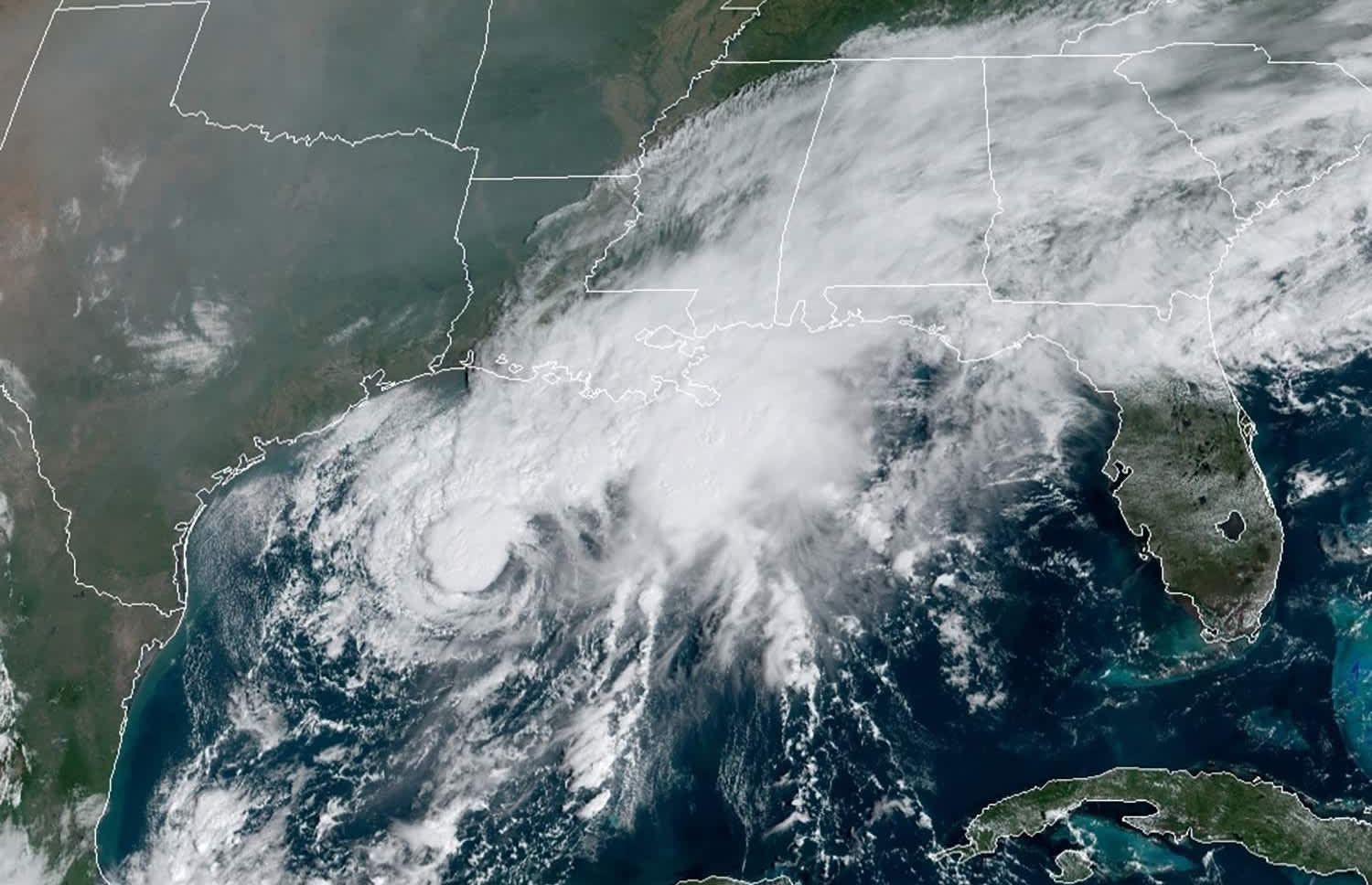 Tropical Storm Beta is forecast to make landfall on the battered Gulf Coast