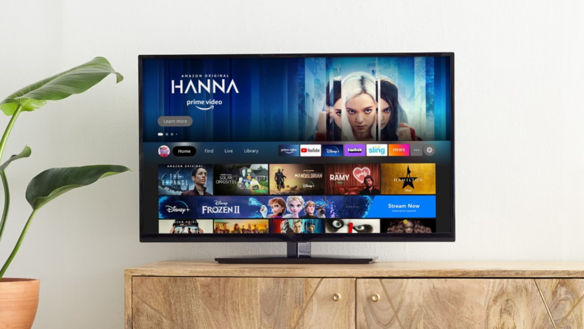 The new Amazon Fire TV interface, which includes user profiles.