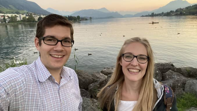 Semir Jahic, sales engineering lead in EMEA at Clari, and his wife in the Swiss village of Küssnacht am Rigi.