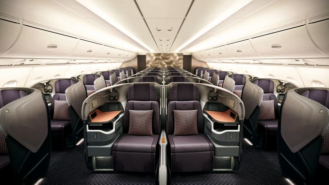 """Diners will be seated in groups up to five, and face masks are required (except when eating) on the A380 restaurant experience, dubbed """"Restaurant A380 @Changi."""""""