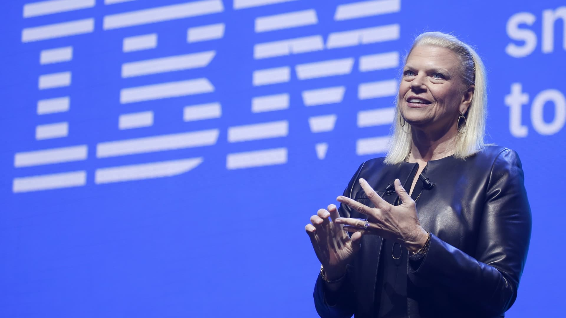IBM President and CEO Virginia Rometty delivers a speech at a 2019 technology conference in Paris, France.