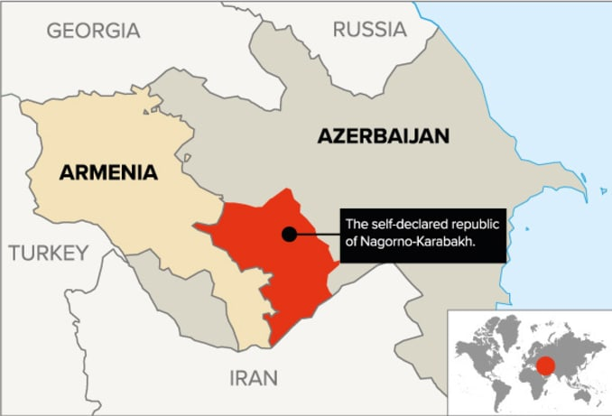 The contested mountainous enclave of Nagorno-Karabakh is internationally recognized as part of Azerbaijan, but it has been under de facto Armenian control since the early 1990s.