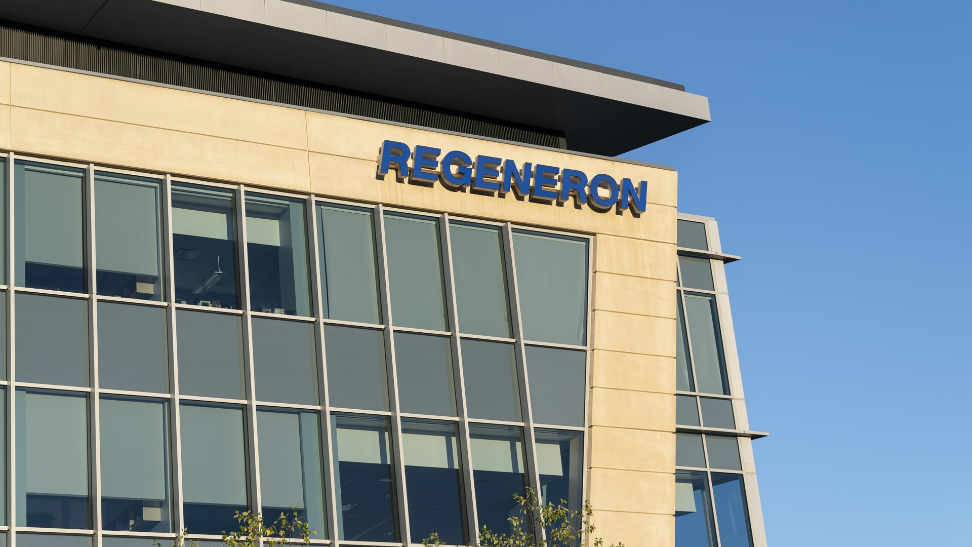 View of Corporate and Research and Development Headquarters of Regeneron Pharmaceuticals on Old Saw Mill River Road in Tarrytown, New York.