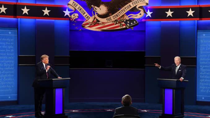 Joe Biden and Donald Trump speak during the first U.S. presidential debate on Sept. 29, 2020.