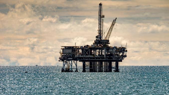 An off-shore oil platform off the coast in Huntington Beach on Sunday, April 5, 2020.
