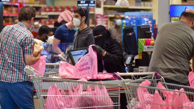 Saudis shop at a supermarket at the Panorama Mall in the capital Riyadh on May 22, 2020.
