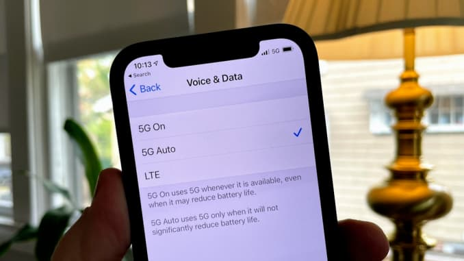 The iPhone 12, by default, will save battery by switching between 5G and 4G LTE as needed.