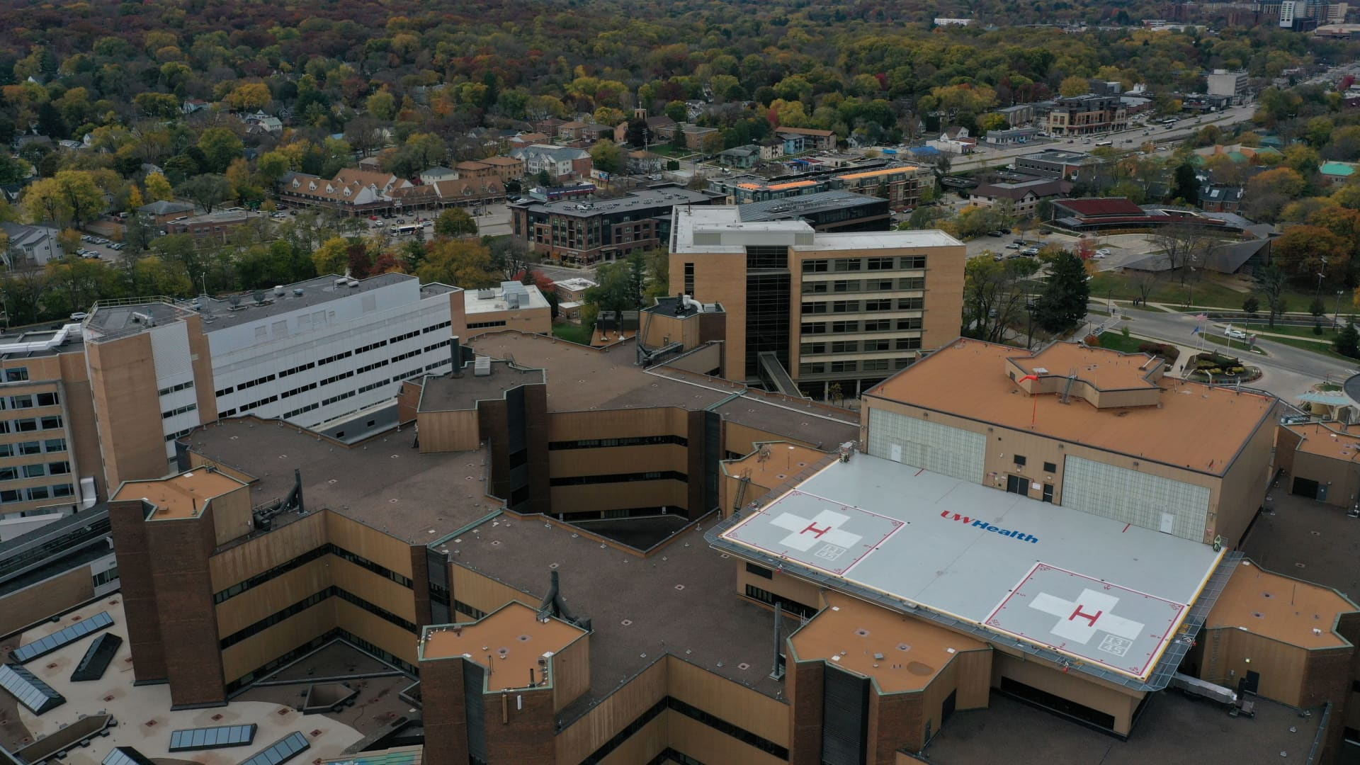 An aerial view of the UW Health University Hospital as the coronavirus disease (COVID-19) outbreak continues in Madison, Wisconsin, U.S., October 19, 2020.