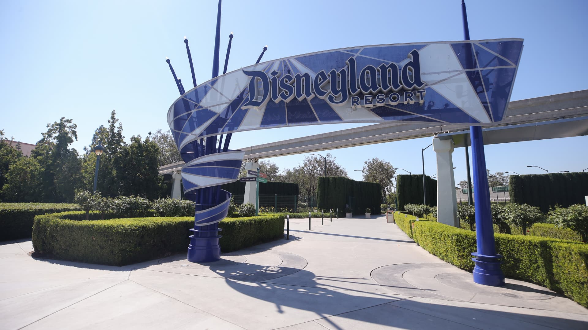 An entrance area to Disneyland stands empty on September 30, 2020 in Anaheim, California.