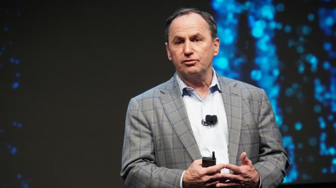 """Intel CEO Robert """"Bob"""" Swan announces the chip group's new microprocessors called """"Tiger Lake"""" at the technology fair CES in Las Vegas on Jan. 7, 2020."""