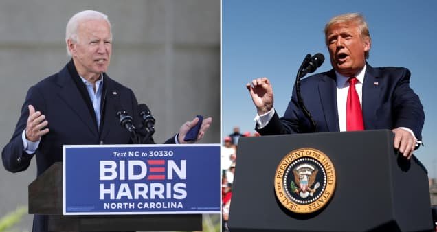 Biden holds edge in swing state polls while his large national lead over Trump shrinks slightly