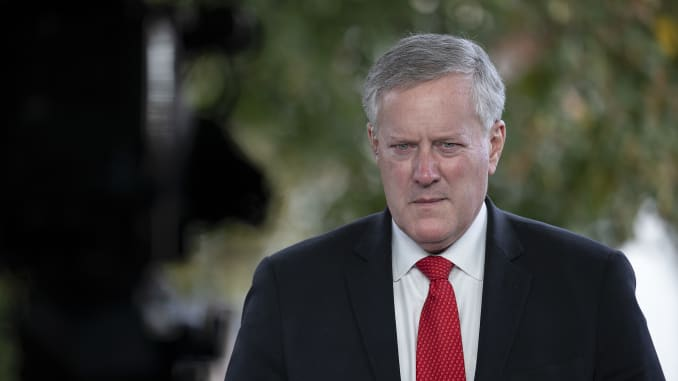 White House Chief of Staff Mark Meadows talks to reporters at the White House on October 21, 2020 in Washington, DC.