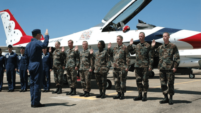 Founder of Battle Beauties Fashion, Chassity Jackson, during a reenlistment ceremony on Eglin Air Force Base, Florida with the Air Force Thunderbirds