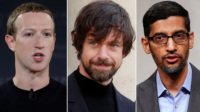 Combination of Mark Zuckerberg, CEO of Facebook, Jack Dorsey, CEO of Twitter and Sundar Pichai, CEO of Google.