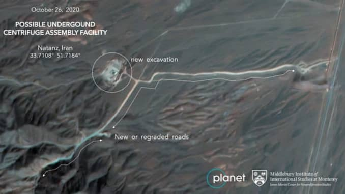 An annotated satellite image of construction at Iran's Natanz uranium enrichment nuclear facility, with analysis by the Middlebury Institute of International Studies at Monterey.