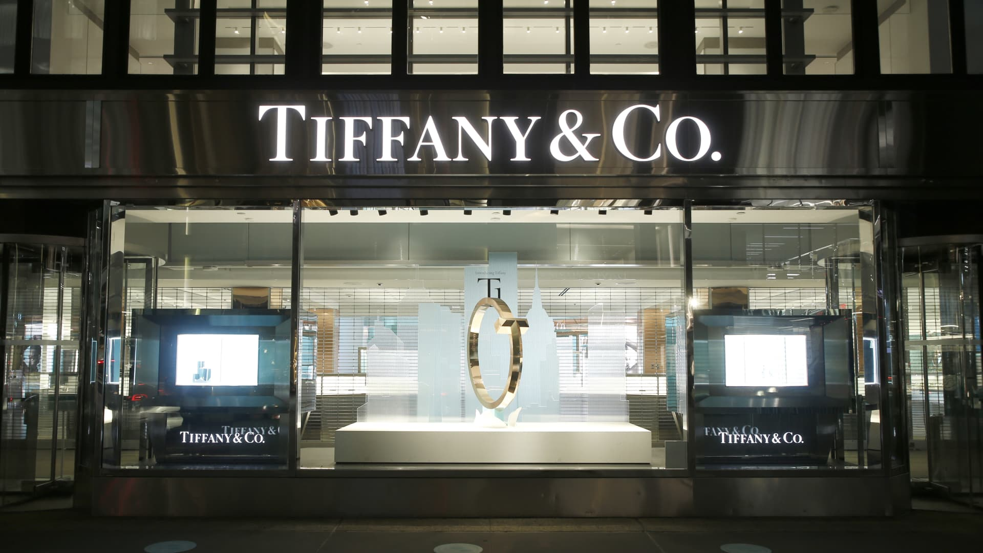 A Tiffany & Co. store front in Mid-Town, New York.