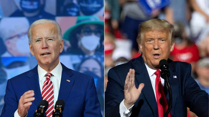 This combination of pictures created on October 30, 2020 shows Democratic presidential nominee and former Vice President Joe Biden delivers remarks on Covid-19 at The Queen theater on October 23, 2020 in Wilmington, Delaware and US President Donald Trump