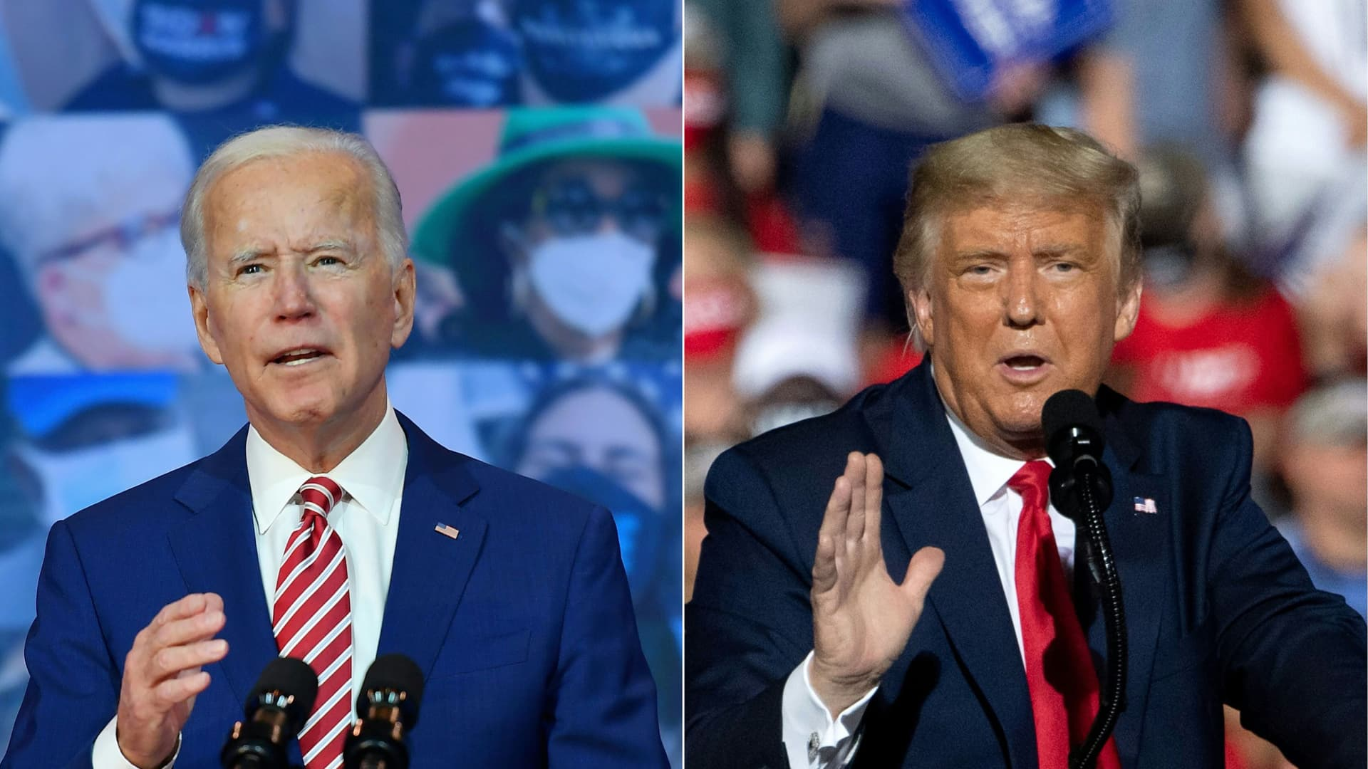 Democratic President-elect Joe Biden delivering remarks on Covid-19 at The Queen theater on Oct. 23, 2020 in Wilmington, Delaware and U.S. President Donald Trump addressing supporters during a Make America Great Again rally in Gastonia, North Carolina, Oct. 21, 2020.