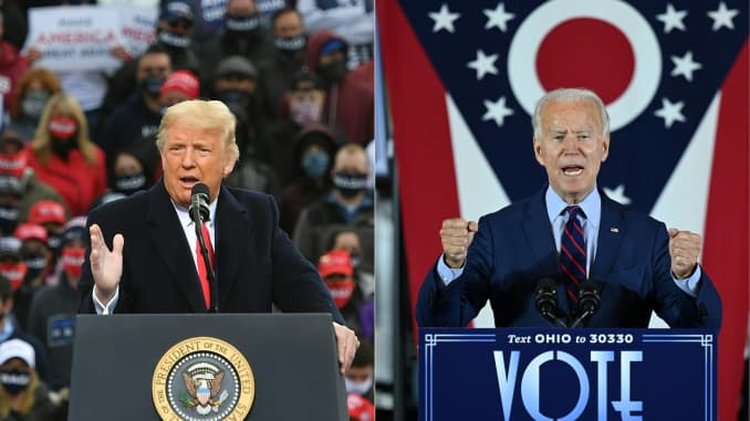 This combination of pictures created on October 30, 2020 shows US President Donald Trump speaks during a campaign rally at Manchester-Boston Regional Airport in Londonderry, New Hampshire on October 25, 2020. Democratic Presidential candidate and former V