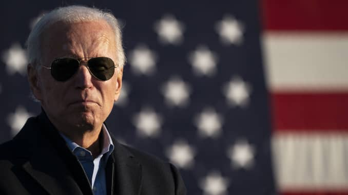 Democratic presidential nominee Joe Biden speaks during a drive-in campaign rally at the Minnesota State Fairgrounds on October 30, 2020 in St. Paul, Minnesota. Biden is campaigning in Iowa, Wisconsin and Minnesota on Friday.