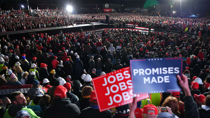 US President Donald Trump speaks during a rally at Pittsburgh-Butler Regional Airport in Butler, Pennsylvania on October 31, 2020.