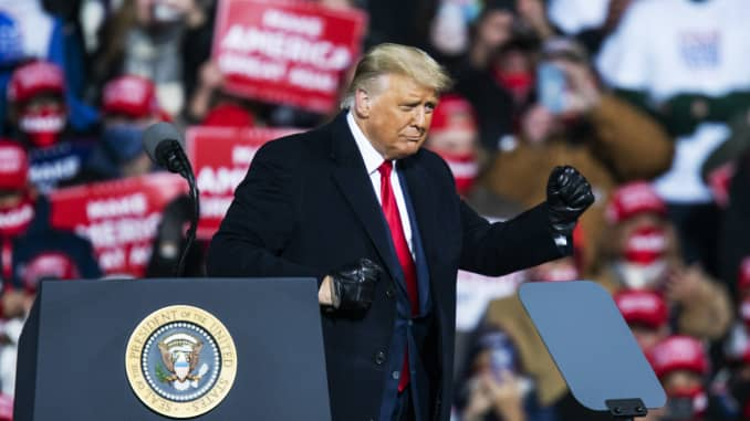 U.S. President Donald Trump dances after speaking to supporters during a rally on October 31, 2020 in Montoursville, Pennsylvania.