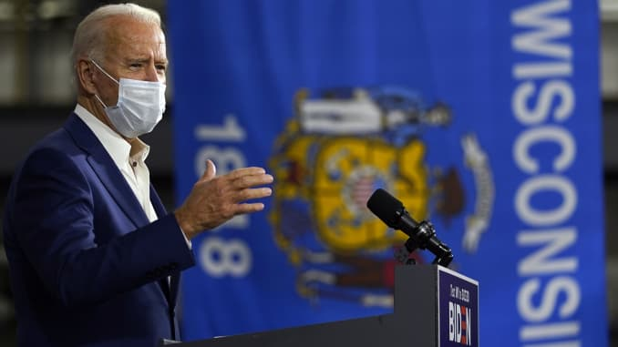 Democratic presidential candidate former Vice President Joe Biden speaks at Wisconsin Aluminum Foundry in Manitowoc, Wis., Monday, Sept. 21, 2020.