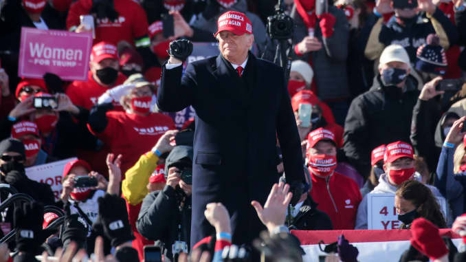 President Donald Trump arrives at a campaign rally at Dubuque Regional Airport on November 1, 2020 in Dubuque, Iowa.