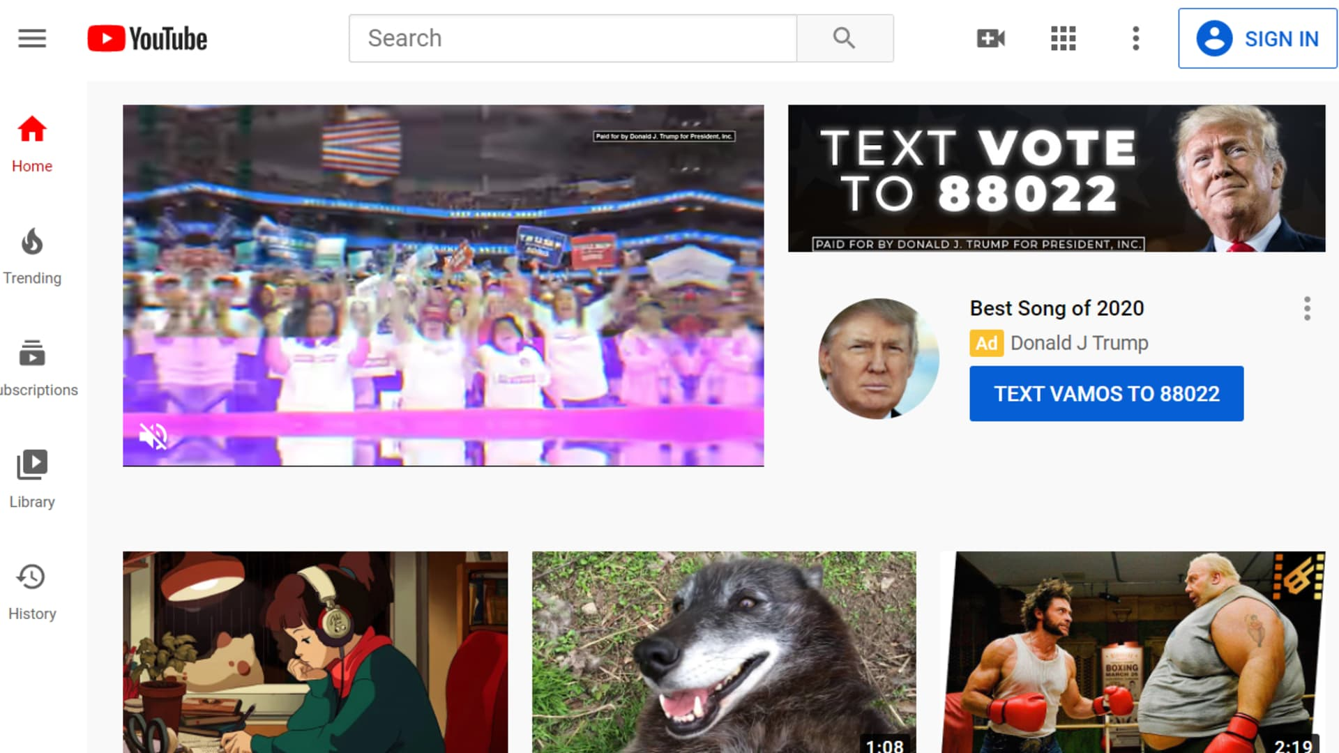 President Trump masthead ad on YouTube.