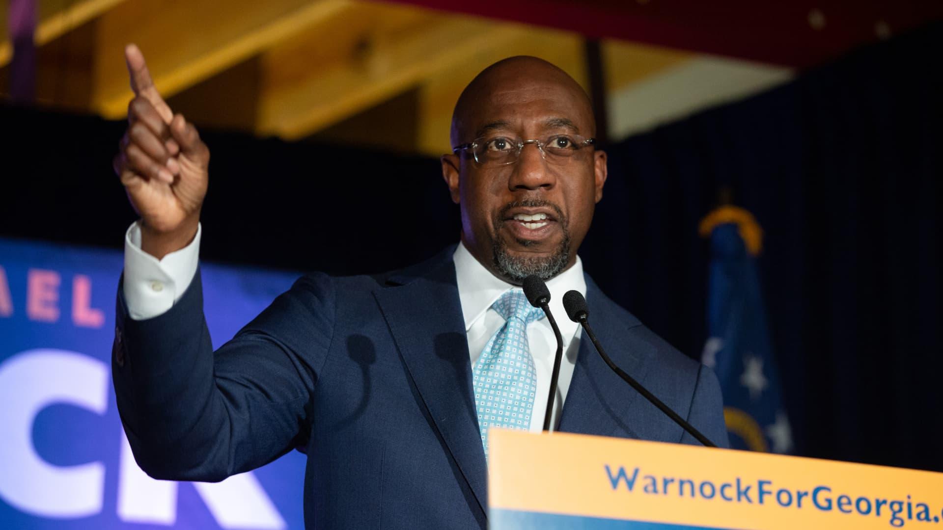 Democratic U.S. Senate candidate Rev. Raphael Warnock speaks during an Election Night event on November 3, 2020 in Atlanta, Georgia.