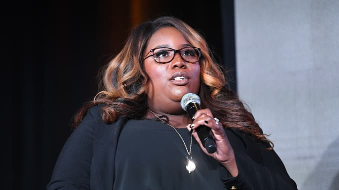 "Michele Rayner-Goolsby speaks onstage during BET ""Finding Justice"" Atlanta premiere at The Foundry At Puritan Mill on March 04, 2019 in Atlanta, Georgia."
