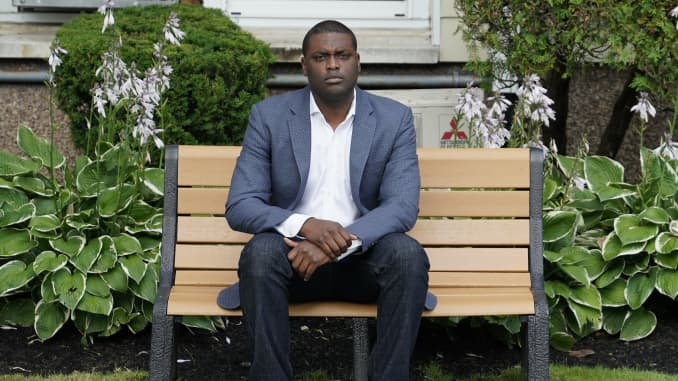 Mondaire Jones, the Democratic candidate for New York's 17th Congressional District, poses outside his home in Nyack, New York, July 23, 2020. - Jones, 33, has won the Democratic primaries in his district. If he wins the November 3rd election as anticipated, he will become the first Black, openly gay representative in US Congress, together with Ritchie Torres from the Bronx.
