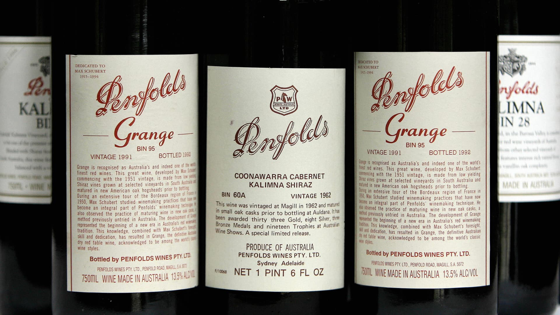 Penfolds Grange red wines at a special re-corking clinic in Sydney, July 12, 2006.