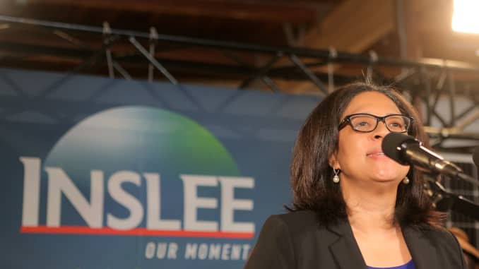 Marilyn Strickland, president and CEO of the Seattle Metro Chamber of Commerce, speaks prior to Washington state Governor Jay Inslee announcing his run for the 2020 Presidency at A & R Solar on March 1, 2019 in Seattle, Washington.